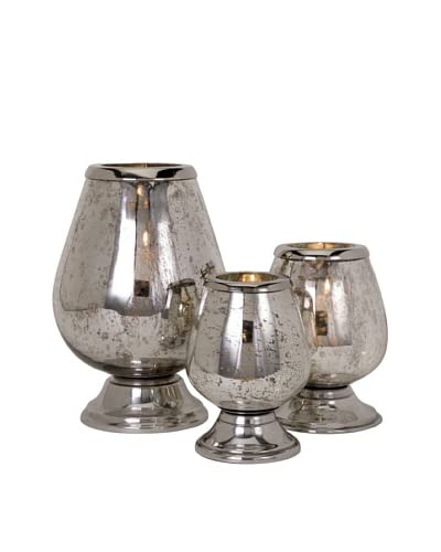 Set of 3 Round Mercury Glass Candleholders