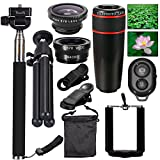 AFAITH 10-in-1 Camera Lens Kit 8x Telephoto Telescope Lens + Fish Eye Lens + Wide Angle + Macro Lens + Selfie Stick Monopod + Bluetooth Remote Control + Mini Tripod For iPhone 4S 5 5C 5S 6 6 Plus Samsung Galaxy S3 S4 S5 S6 Edge Note 2 3 4 HTC Nokia and Smartphones