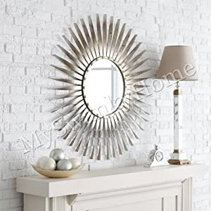 Extra large silver leaf sunburst starburst for Large silver wall mirror
