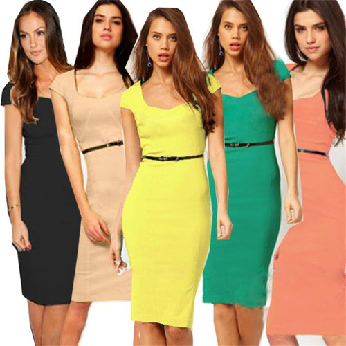 Ladies Womens Bodycon Celeb Party Cocktail Pencil Midi Dresses