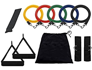 Resistance Band Set with Door Anchor, Ankle Strap, and Resistance Band Carrying Case by Black Mountain