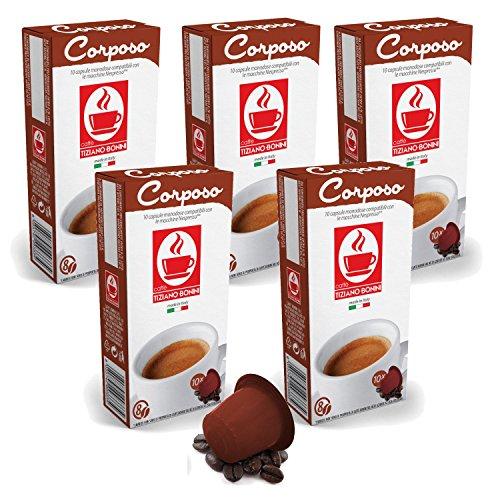 Get Bonini Coffee Capsules, Corposo - Nespresso Compatible- 5-Pack (5x10 Capsules) - Caffè Tiziano Bonini