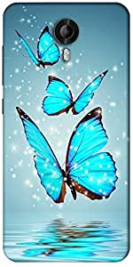 Snoogg Blue Butterfly Digital Designer Protective Back Case Cover For Micromax Canvas Nitro 3 E455