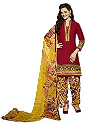 Go Traditional Women's Cotton Unstitched Dress Material (Red)