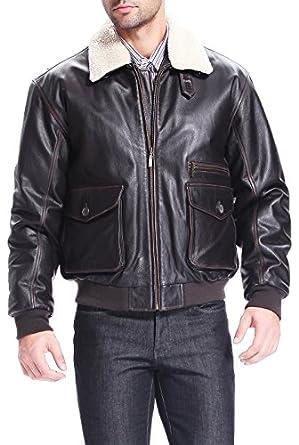 BGSD Men's Vintage Cowhide Leather Flight Bomber Jacket - XLT