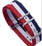 ノーブランド ベルト ナイロン NATOタイプ(ネイビー・ホワイト・ レッド・ホワイト : 20mm )  腕時計 替えバンド ストラップ
