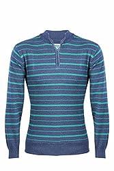 UV&W Full Sleeve Half-Zip Men's Navy Blue Sweater