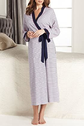Portfolio Pure Cotton Stripe Wrap Dressing Gown [T37-7252-S-LCTB]