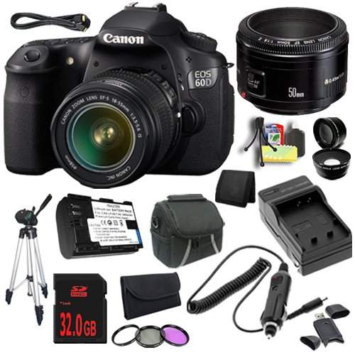 Canon Eos 60D 18 Mp Cmos Digital Slr Camera (Refurbished) W/Ef-S 18-55Mm F/3.5-5.6 Is Ii Lens + Canon Ef 50Mm F/1.8 Ii Slr Lens + Lp-E6 Replacement Lithium Ion Battery  + External Rapid Charger + 32Gb Sdhc Class 10 Memory Card + 58Mm Wide Angle Lens + 58M