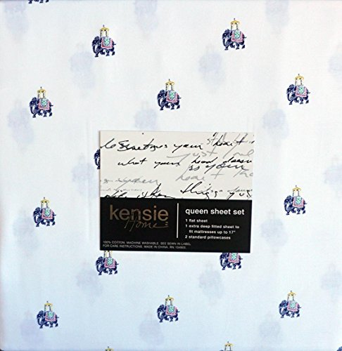 kensie-bedding-4-piece-cotton-queen-sheet-set-solid-white-with-blue-indian-elephants