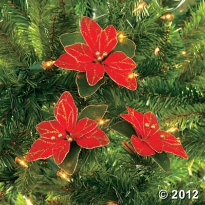 Lot of 12 Red Glitter Poinsettia Christmas Tree Ornaments