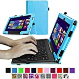 "Fintie ASUS Transformer Book 10.1 inch Laptop T100TAM / T100 / T100TA / T100TAF Case - Premium PU Leather Keyboard Stand Cover For ASUS Transformer Book 10.1"" Detachable 2-in-1 Touch Laptop, Blue"