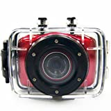 MAYMOC Sports Action Cam Camcorder Helmet Cameras HD Waterproof 2 Inch Touch Screen with 8G TF Memory Card (Red)