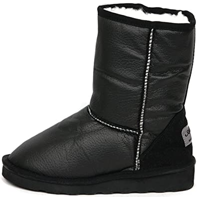 New Shiny Waterproof Shearling Womens Winter Snow Warm Boots Shoes Black (5.5)