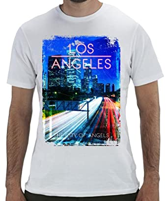 Geevan's Los Angeles City Of Angels Tee - Funky Graphic Printed T Shirt (X-Large)