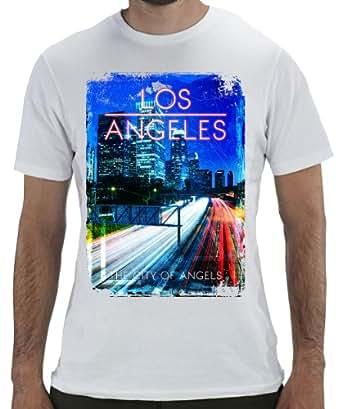 Geevan's Los Angeles City Of Angels Tee - Funky Graphic Printed T Shirt (Medium)
