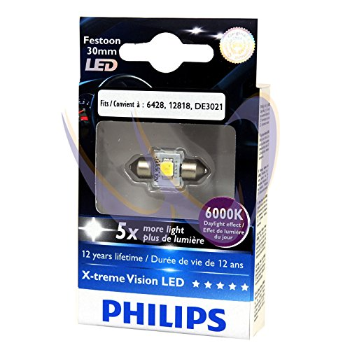 Philips 12941 X-Treme Vision Led 6000K 12V White Feestoon C5W Interior Bulb, Pack Of 2