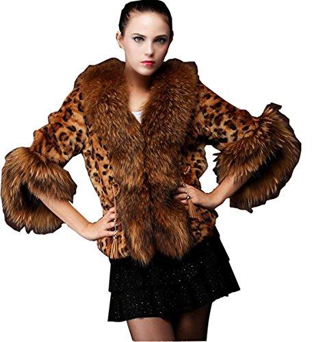 Women Winter Retro Fur Leopard Print Jacket Coat Parka Warm Ourwear Size 6-22 (M, Leopard)