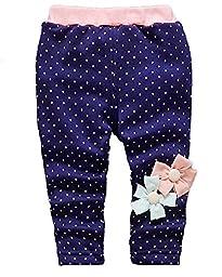 Baby Girls Kids Winter Warm Sweatpants Legging Pants Snowpants Outerwear(Flower Navy,2-3 Years)
