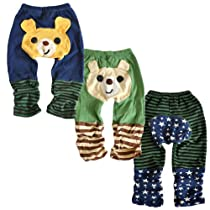 Set 3 LOCOMO Baby Boy Cartoon Animal Bear Striped Star Pant Medium FBT001BM