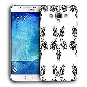 Snoogg White Star Printed Protective Phone Back Case Cover For Samsung Galaxy A8