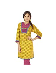 Jaipur RagaJaipuri Designer Hand Block Printed Yellow Cotton Girls Kurti N Top