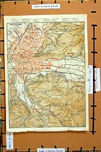 Karte Deutschland-strassen-plan 1925 Freiburg Wiehre Gunterstal