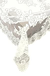 Ritz 63-Inch by 90-Inch Oval Lace Tablecloth, Ivory