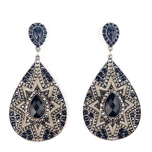 Dasion Sunflower-shaped Teardrop-shaped Earrings Fashion National Wind(Silver) ()