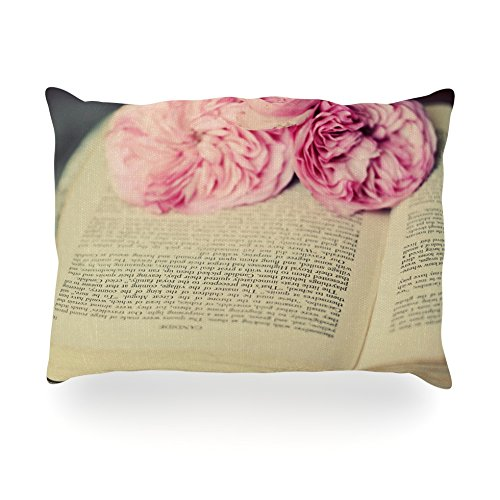 "Kess Inhouse Cristina Mitchell ""A Good Read"" Pink Tan Oblong Rectangle Outdoor Throw Pillow, 14 By 20-Inch front-995807"