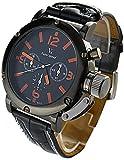 YouYouPifa® Sport Style Black Dial Leather Strap Men's Quartz Wrist Watch (Orange)