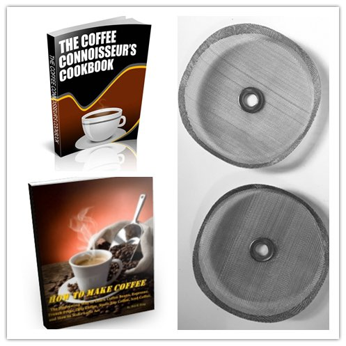Open Kitchen Replacement Filter Mesh Screens (2 pack) for 3 cup (350 ml) French Press Coffee Maker Includes Metal Center Ring Stainless Steel Reusable Filter with 2 Bonus Coffee eBooks (12 Cup Bonjour French Press compare prices)
