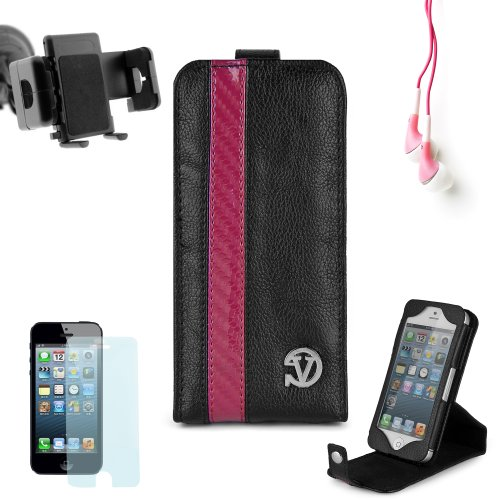 Elegant Vangoddy Repetto Collection Black And Pink Thick Grain Leatherette Apple Iphone 5 Leather Cover With Vertical Stand + Custom Cut Iphone 5 Screen Protector + Iphone 5 Car Mount Vent Mount + Compatible Iphone 5 Earbud Earphones