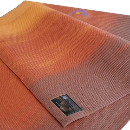 Imagen de Las auroras del Norte Yoga Mat luces con Golden Sun focal Icon-SGS aprobado Libre de ftalatos y látex. Puesta de sol biodegradable, (de oro), Color de Sunset