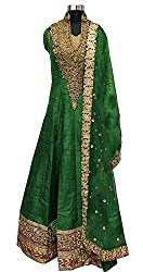 Caffoy Cloth Company Womens Light Green Color Bangalori Silk Designer Embroidered New Arrive Anarkali Salwar Suit For Wedding.