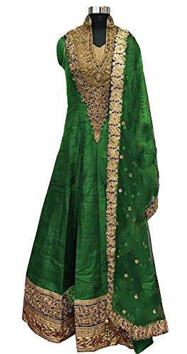 Caffoy Cloth Company Womens Light Green Color Bangalori Silk Designer Embroidered New Arrive Anarkali Salwar Suit For Wedding.