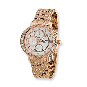 Fashionista Morning Fit Rose Ip-plated Chrono Watch by Moog Watches, Best Quality Free Gift Box Satisfaction Guaranteed
