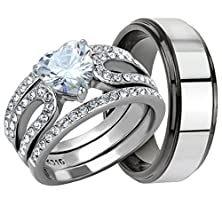 buy 4 Piece His & Hers, Women'S Stainless Steel Heart Cut Cubic Zirconia 1.7 Ct Engagement Wedding Ring Set & Menõs Two Tone Tungsten Band. Available Sizes: Men'S 5,6,7,8,9,10,11,12,13 Women'S Set Sizes: 5,6,7,8,9,10