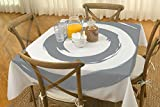"BottleCloth Table Cloth - Eco Chic - Spill Proof - 60""x60"" - White & Gray - Peace Circle"