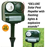 Good Ideas Deluxe Solar Powered Pest Animal Repeller (1423) Bright lights and animal noise to chase, deter, repel vermin, cats, dogs, pests, animal chaser.
