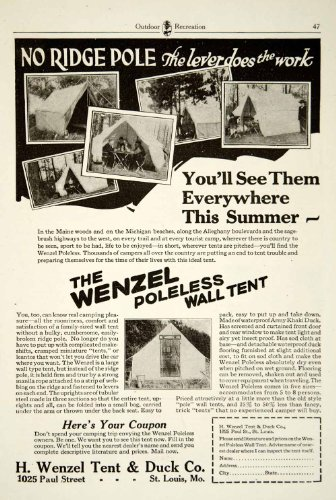 1925 Ad H Wenzel Poleless Wall Tent Army Khaki Duck Camping Sporting Goods – Original Print Ad