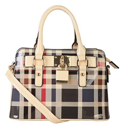 rimen-co-patent-faux-leather-front-lock-mini-plaid-tote-handbag-gz-3078-beige