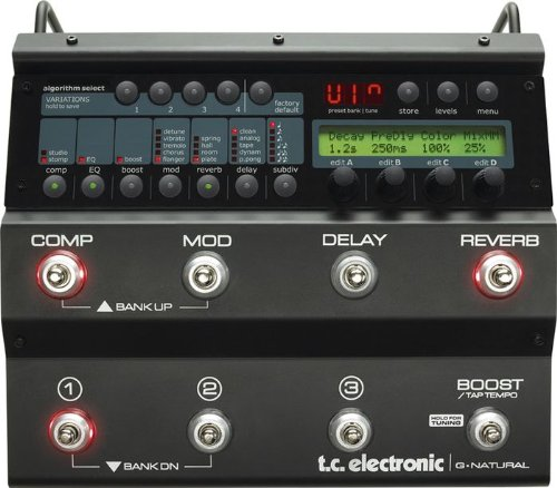 Tc Electronic G-Natural Floor Based Effects System Specifically For Acoustic Guitar With Microphone Preamp And Vocal Effects
