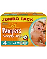 Pampers Simply Dry Couches Maxi 7-18 kg Taille 4 Format Jumbopack - 148 (74X2)