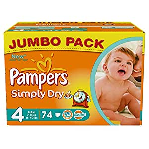 Pampers Simply Dry (Maxi) Jumbo Pack - Size 4, 74 Nappies
