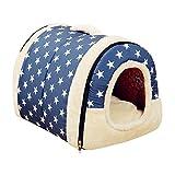 ペットハウス ドーム型 猫犬 室内用 中敷き付き 折りたたみ式 ペットベッド 5種類 S,M,Lサイズ【Justgreat】 (S 35x30x28cm, ブルー - スター)