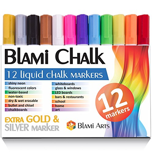 Chalk Markers with extra gold and silver ink from Blami Arts. Set of 12 shiny neon liquid chalk pen with reversible bullet and chisel fine tip. Free Your Imagination with unique paint colored chalkboard markers Now! (Fine Point Makers compare prices)