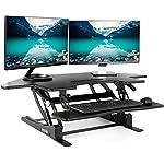 """VIVO Black Corner Standing Height Adjustable Cubical Sit to Stand - 43.5"""" Wide Tabletop Desk Riser (DESK-V000VC)"""
