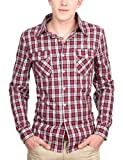 Doublju Mens Cheak shirts with Long Sleeve