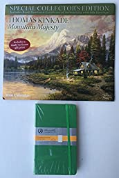 2016 2 Item Calendar Bundle - 1-2016 Special Collector\'s Edition Thomas Kinkade Calendar and 1-Piccadilly Med Green Essential Ruled Notebook